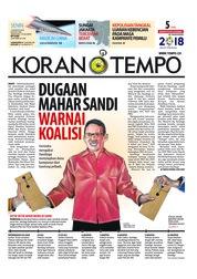Cover Koran TEMPO 13 Agustus 2018