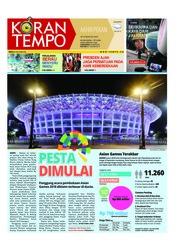 Cover Koran TEMPO 18 Agustus 2018