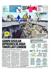 Cover Koran TEMPO 21 Agustus 2018