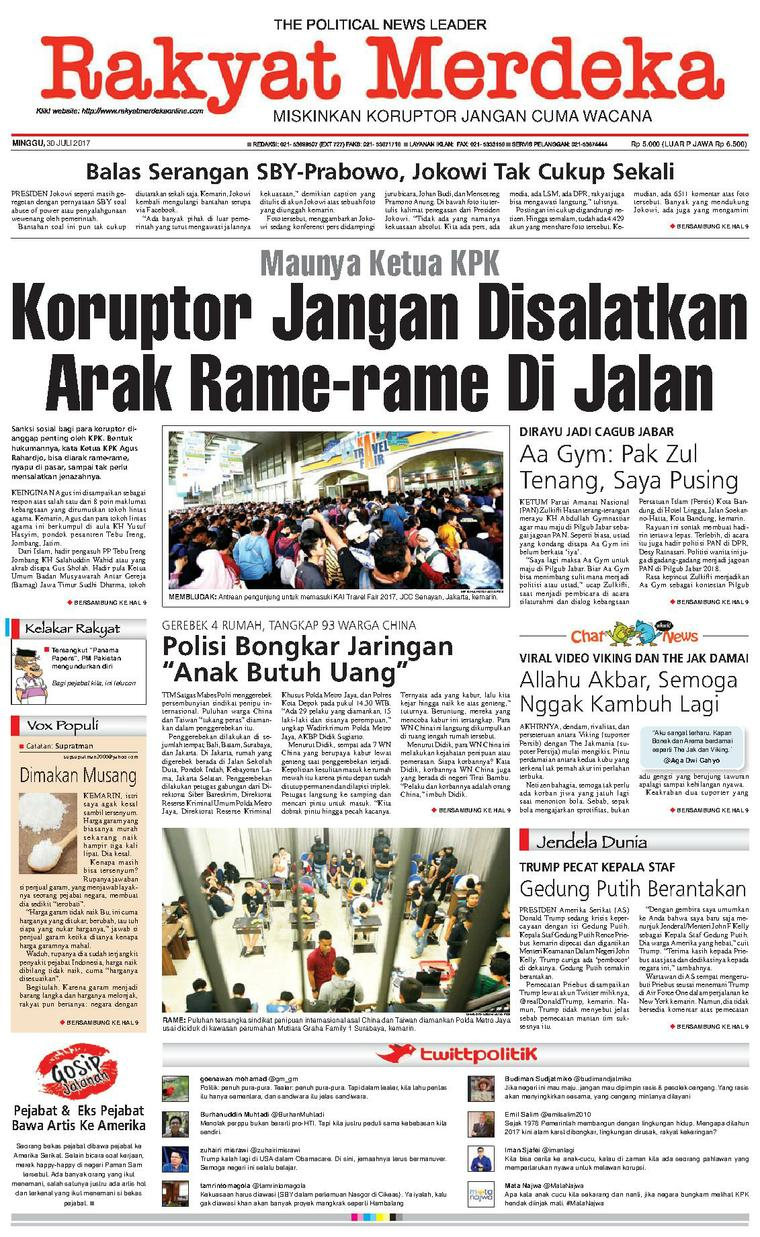 Koran Digital Rakyat Merdeka 30 Juli 2017