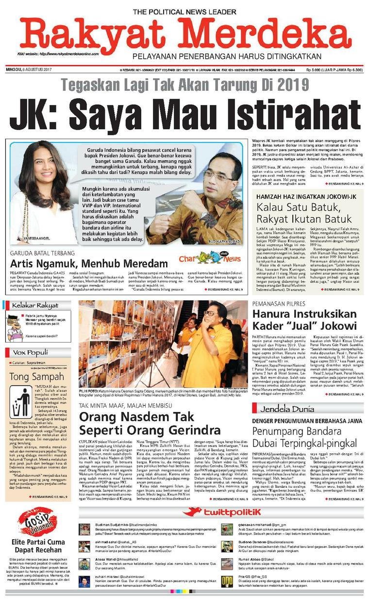 Rakyat Merdeka Digital Newspaper 06 August 2017