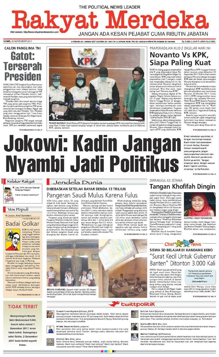 Koran Digital Rakyat Merdeka 30 November 2017