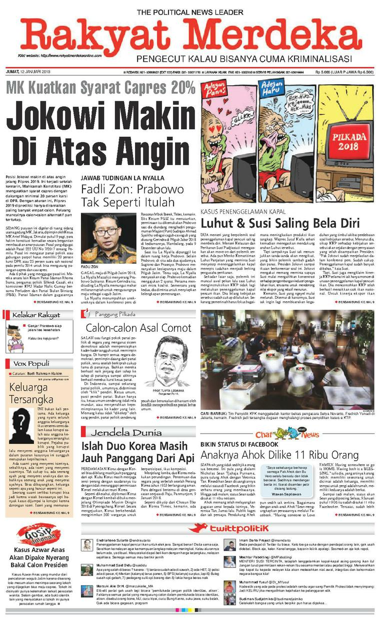 Koran Digital Rakyat Merdeka 12 Januari 2018