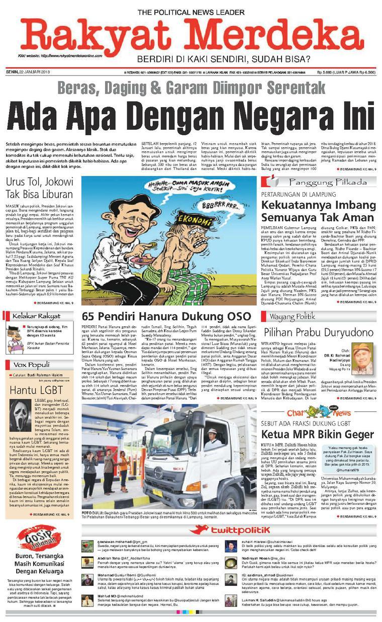 Koran Digital Rakyat Merdeka 22 Januari 2018