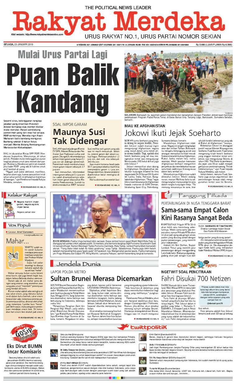 Koran Digital Rakyat Merdeka 23 Januari 2018