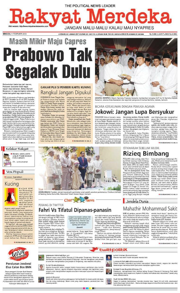 Koran Digital Rakyat Merdeka 11 Februari 2018