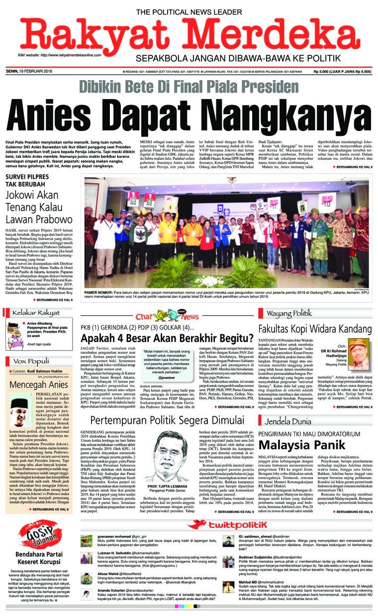 Koran Digital Rakyat Merdeka 19 Februari 2018