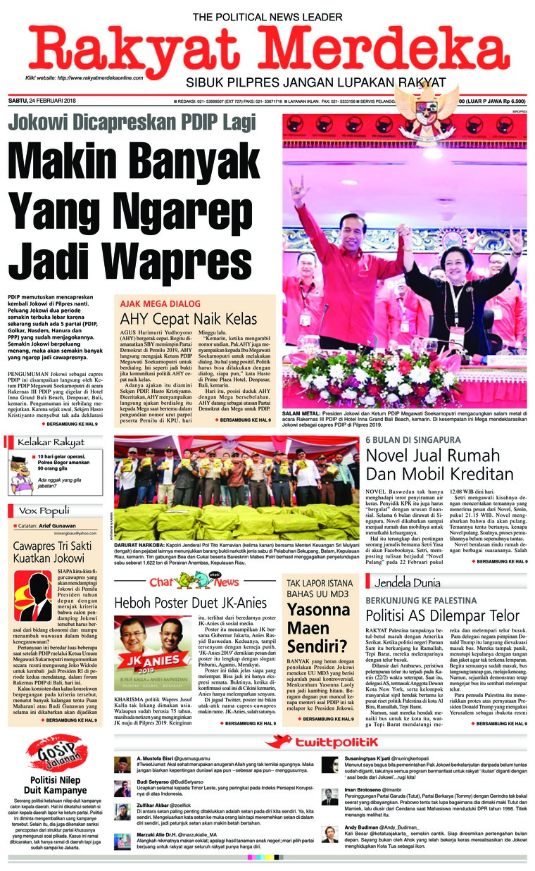 Rakyat Merdeka Digital Newspaper 24 February 2018