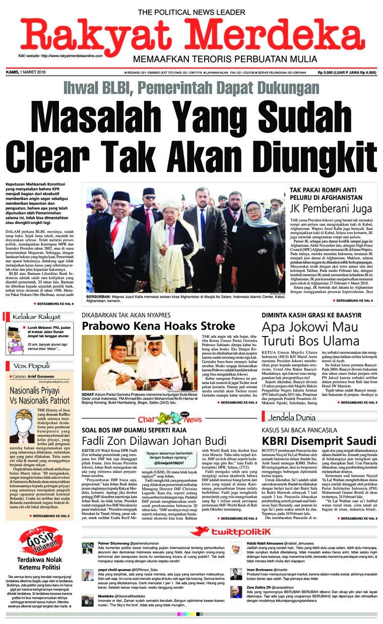 Koran Digital Rakyat Merdeka 01 Maret 2018