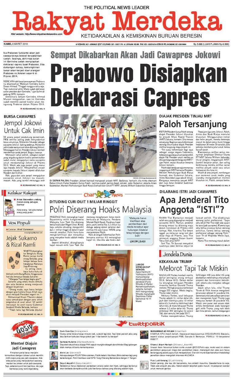 Koran Digital Rakyat Merdeka 08 Maret 2018