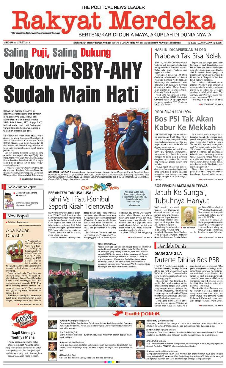 Rakyat Merdeka Digital Newspaper 11 March 2018