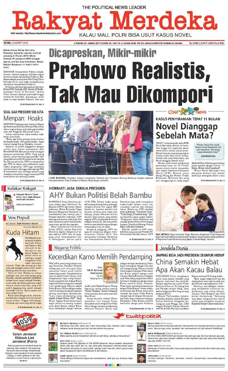 Koran Digital Rakyat Merdeka 12 Maret 2018