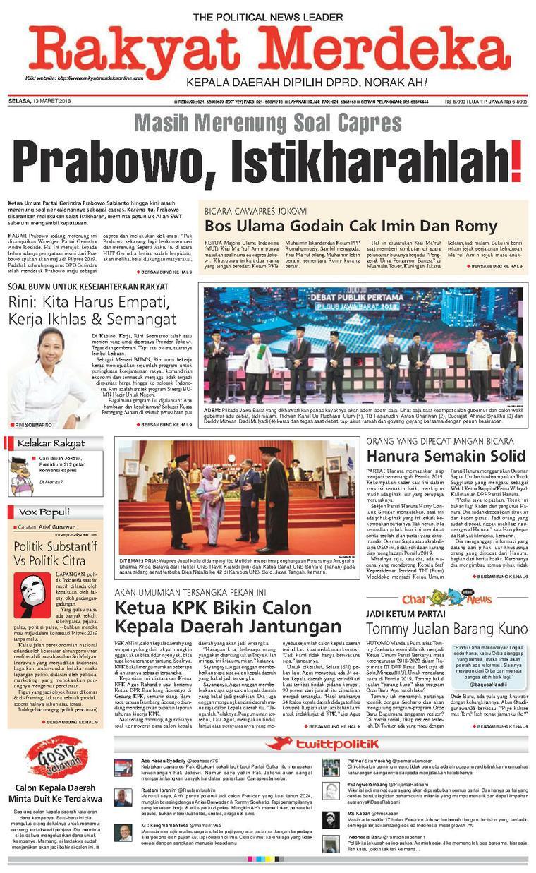 Koran Digital Rakyat Merdeka 13 Maret 2018