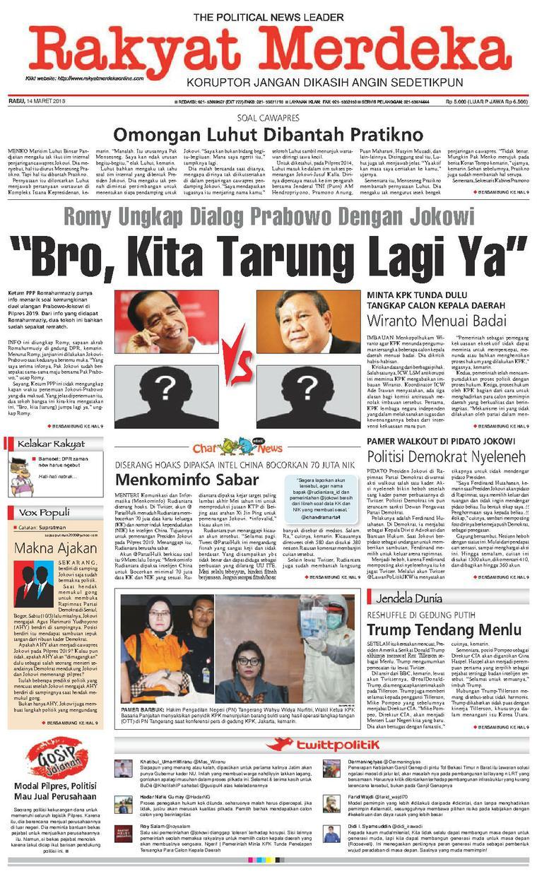 Koran Digital Rakyat Merdeka 14 Maret 2018