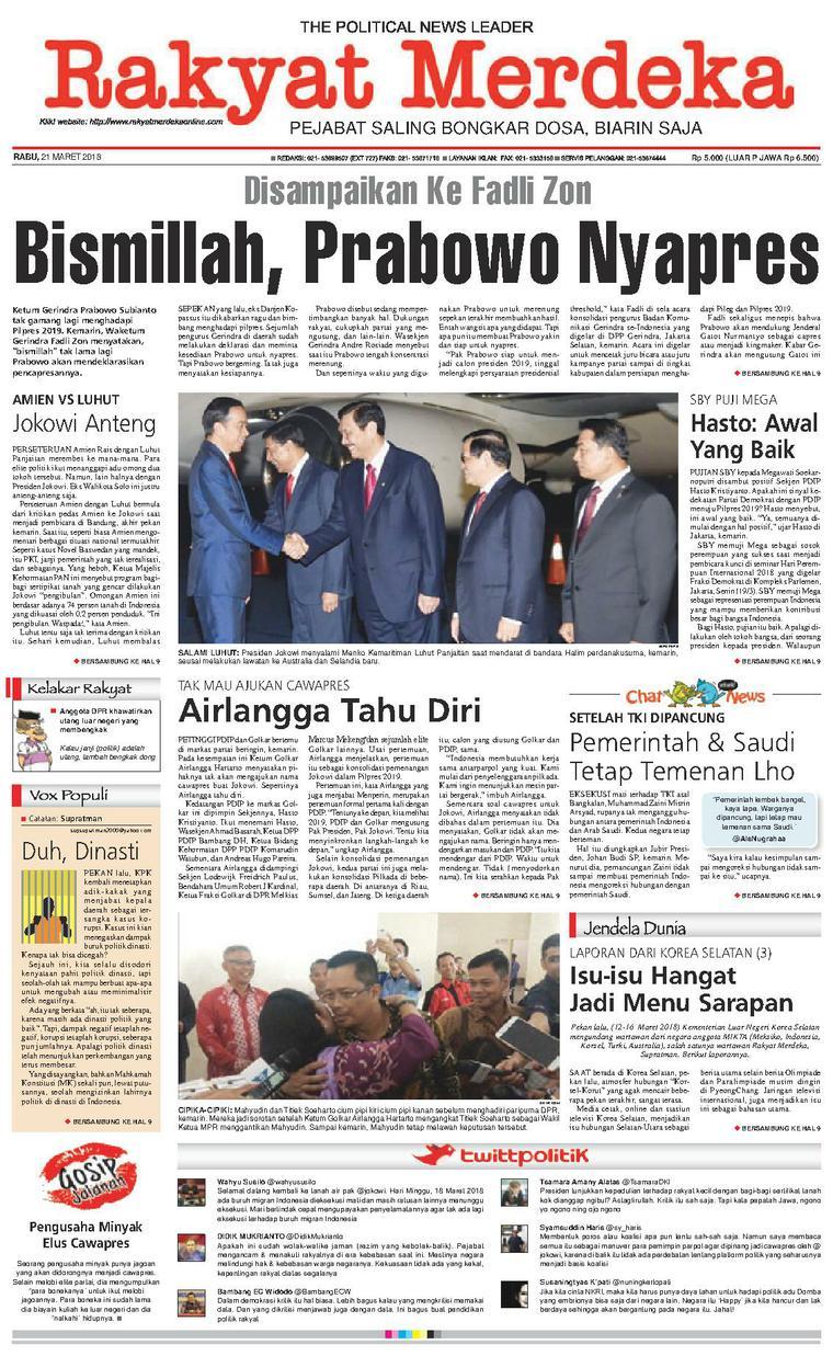 Koran Digital Rakyat Merdeka 21 Maret 2018