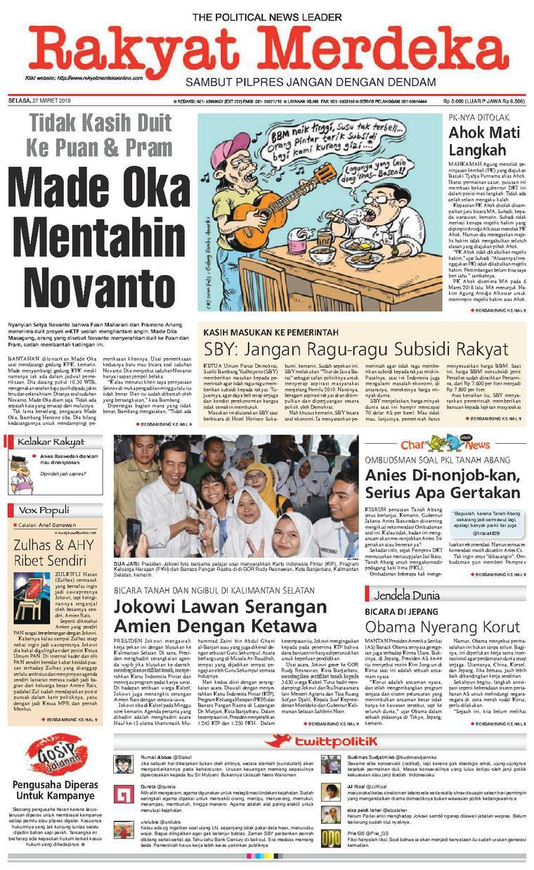 Koran Digital Rakyat Merdeka 27 Maret 2018