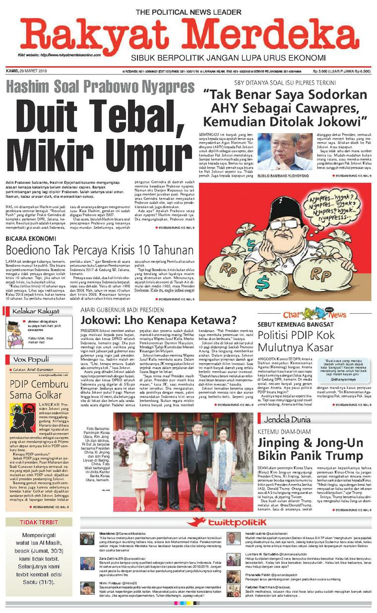 Koran Digital Rakyat Merdeka 29 Maret 2018