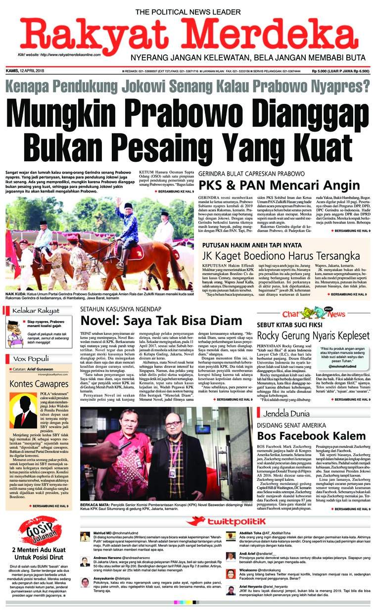Koran Digital Rakyat Merdeka 12 April 2018