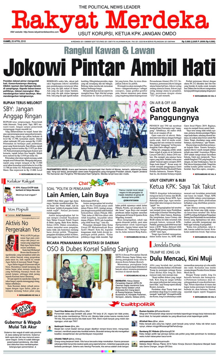 Rakyat Merdeka Digital Newspaper 26 April 2018