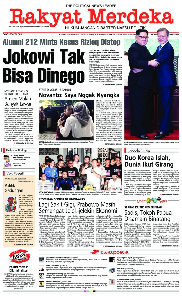 Rakyat Merdeka Digital Newspaper 28 April 2018