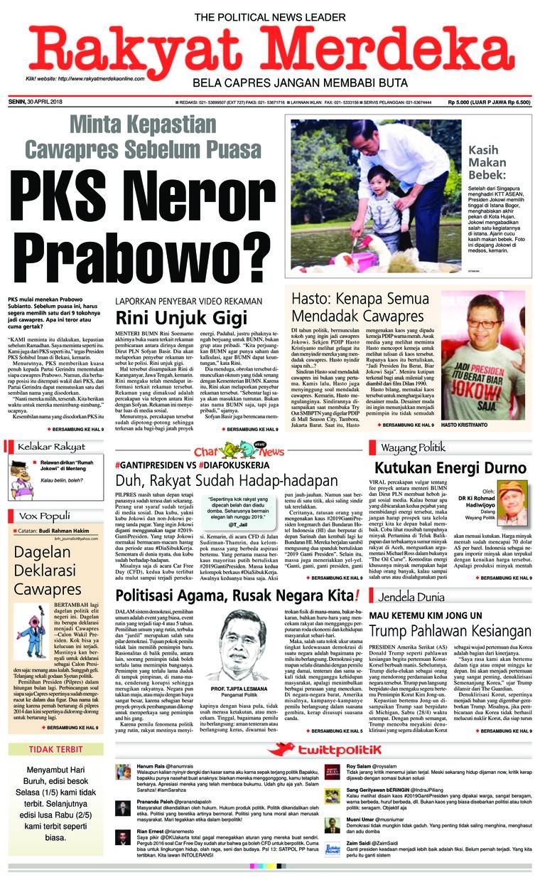 Koran Digital Rakyat Merdeka 30 April 2018