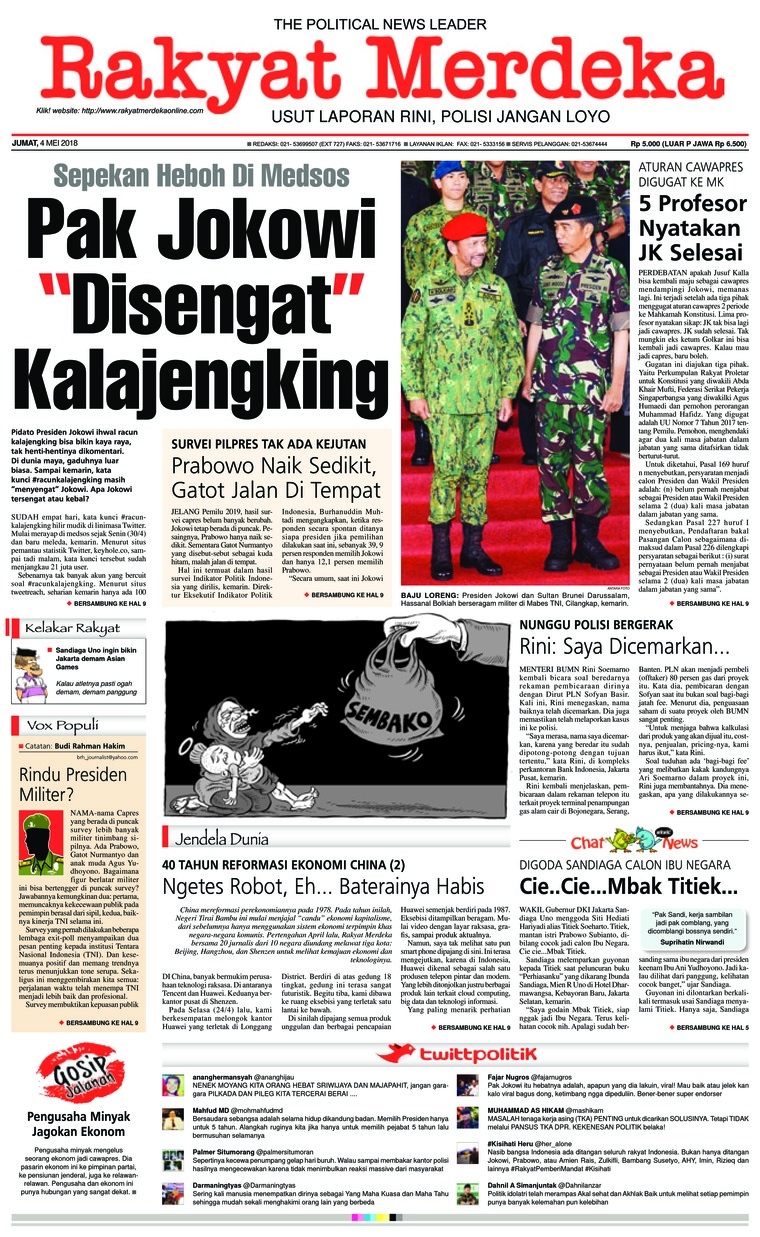 Rakyat Merdeka Digital Newspaper 04 May 2018