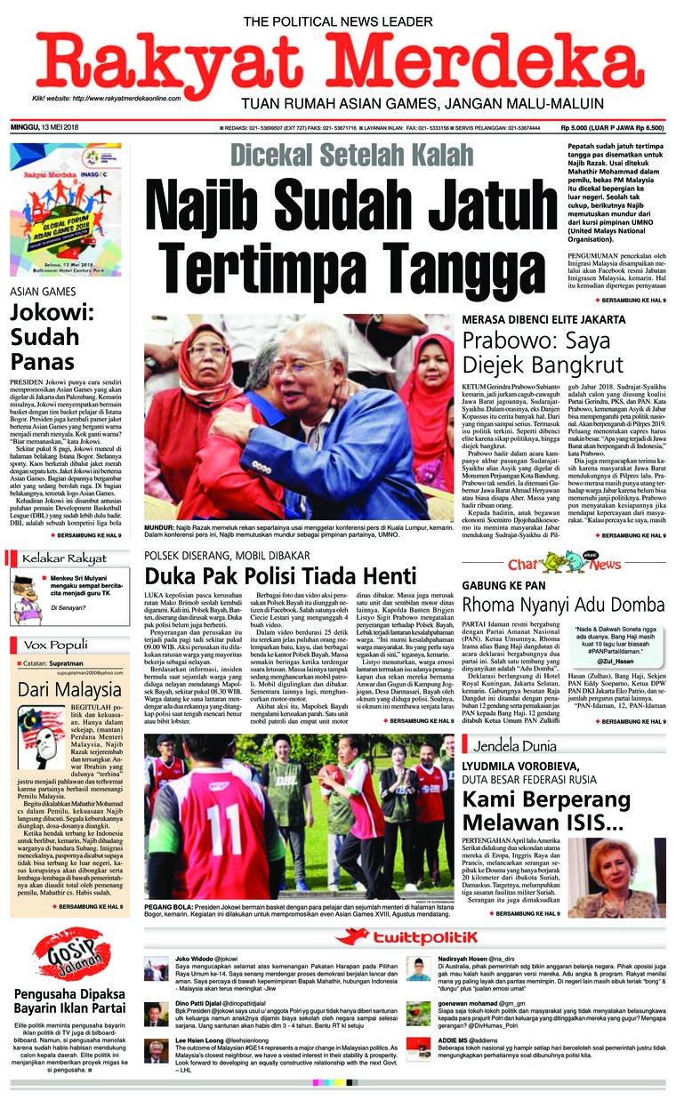 Koran Digital Rakyat Merdeka 13 Mei 2018