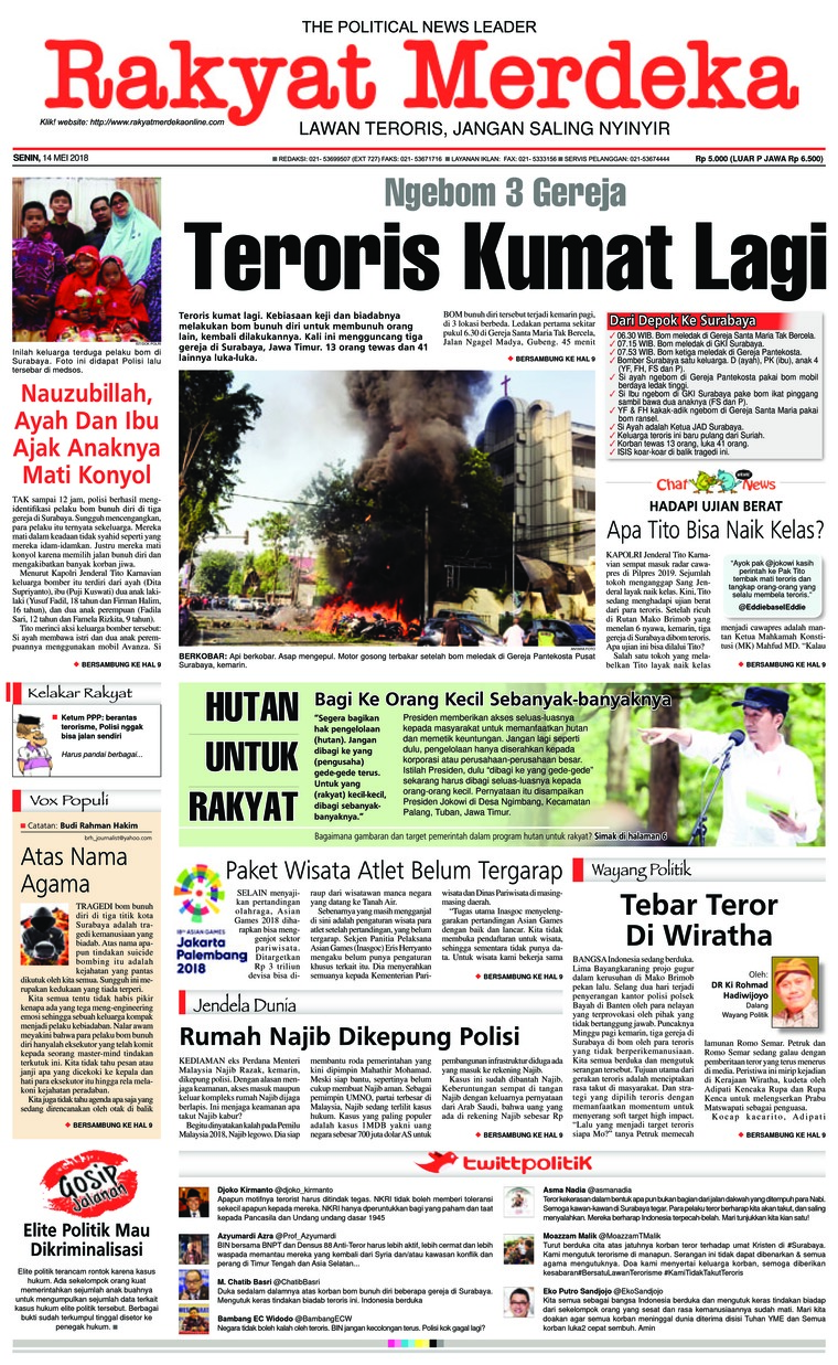 Rakyat Merdeka Digital Newspaper 14 May 2018