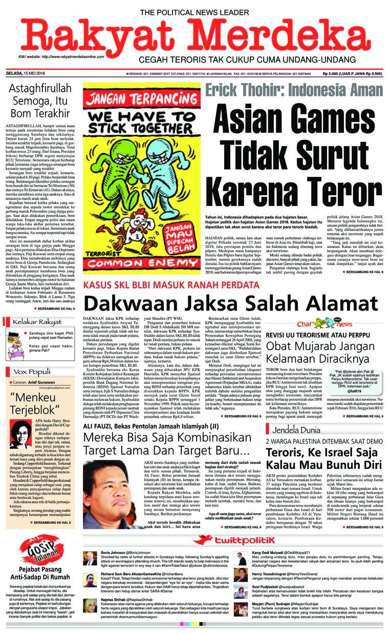 Rakyat Merdeka Digital Newspaper 15 May 2018