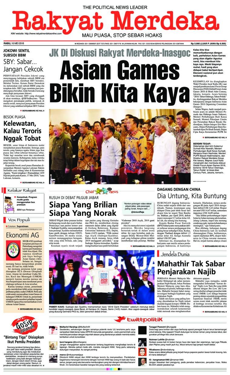 Koran Digital Rakyat Merdeka 16 Mei 2018