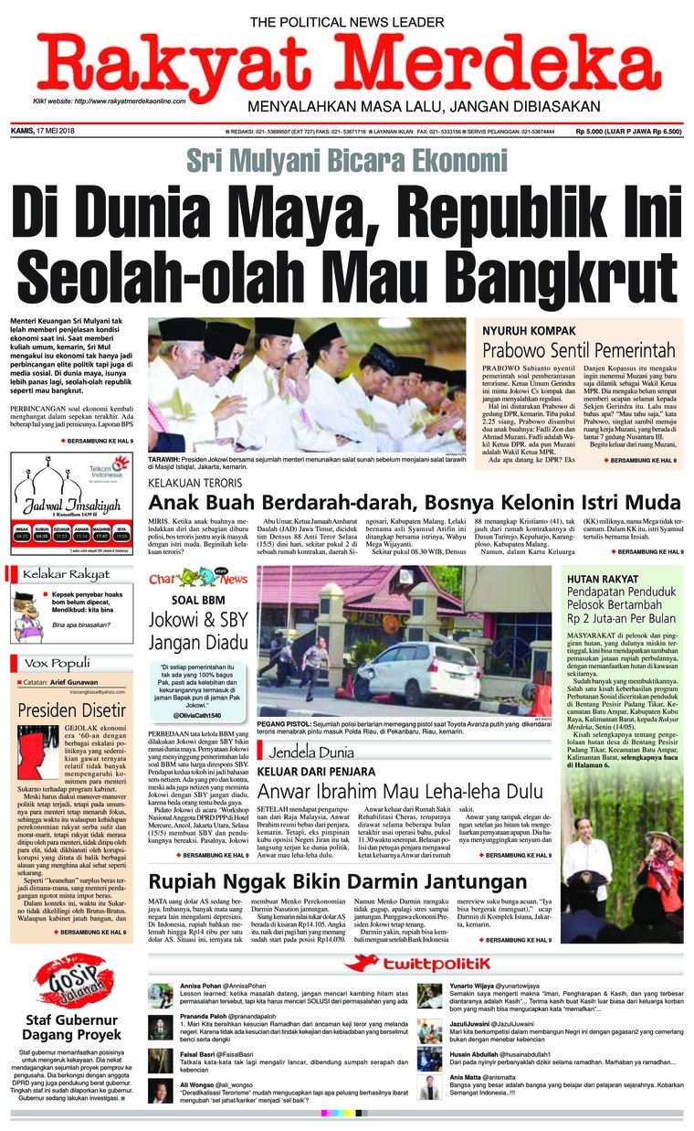 Rakyat Merdeka Digital Newspaper 17 May 2018