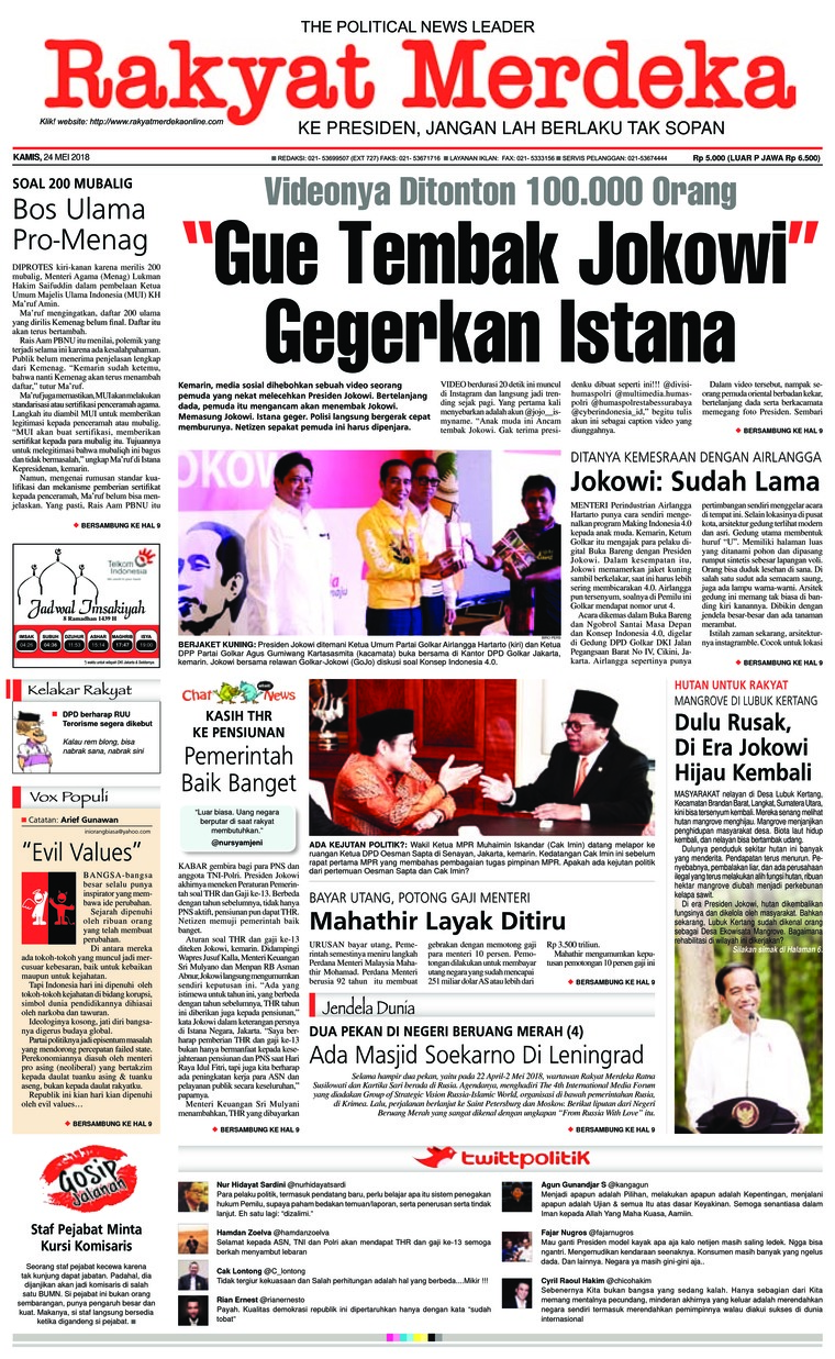 Rakyat Merdeka Digital Newspaper 24 May 2018