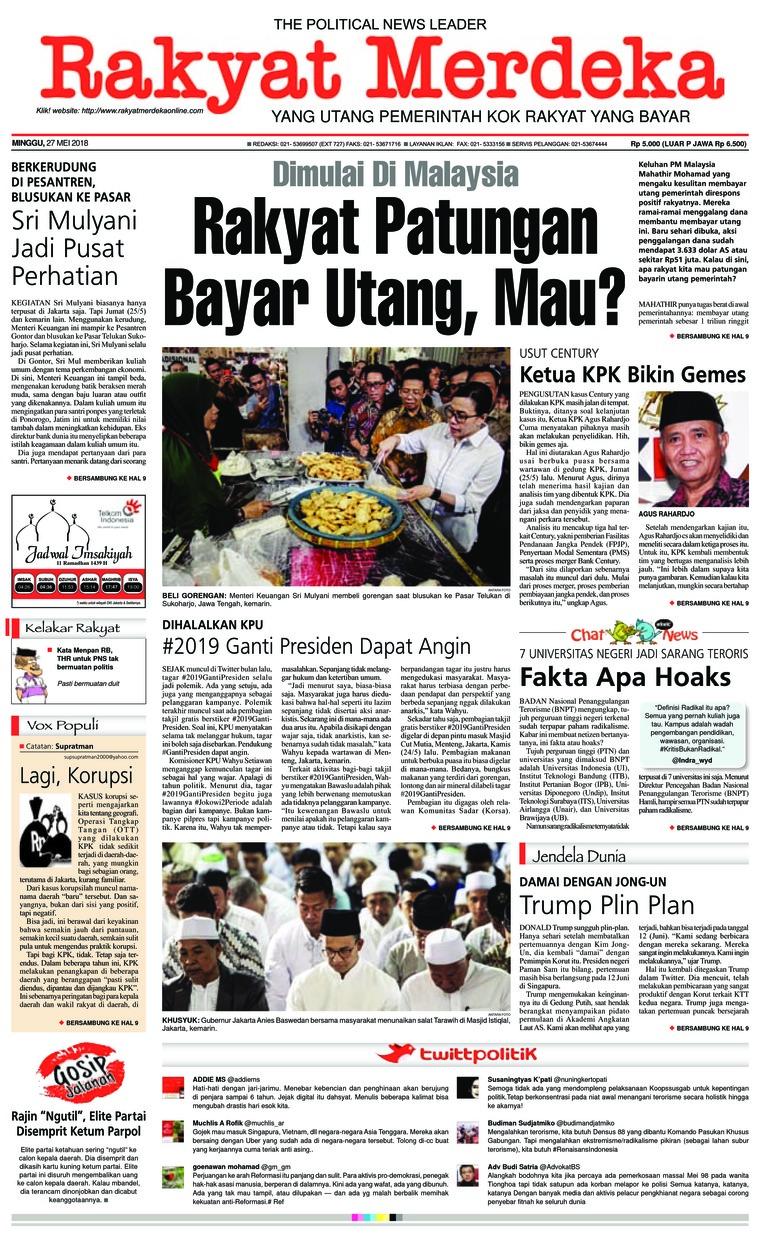 Rakyat Merdeka Digital Newspaper 27 May 2018
