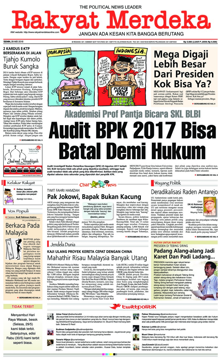 Rakyat Merdeka Digital Newspaper 28 May 2018