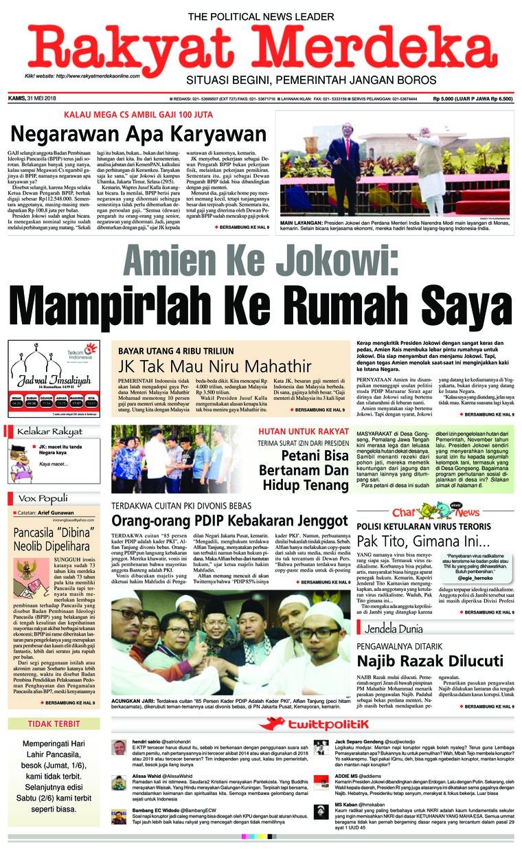 Rakyat Merdeka Digital Newspaper 31 May 2018