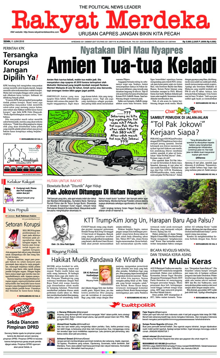 Rakyat Merdeka Digital Newspaper 11 June 2018