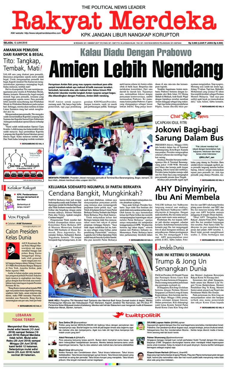 Rakyat Merdeka Digital Newspaper 12 June 2018