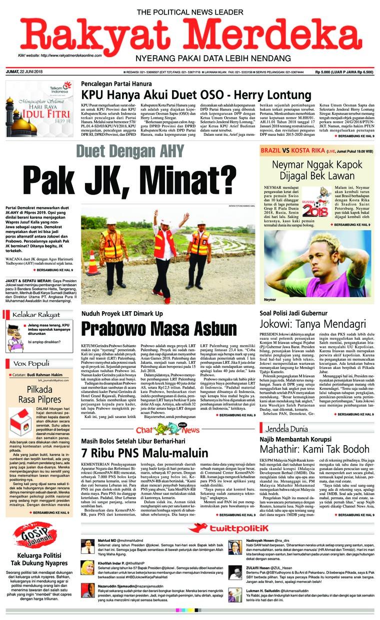 Koran Digital Rakyat Merdeka 22 Juni 2018