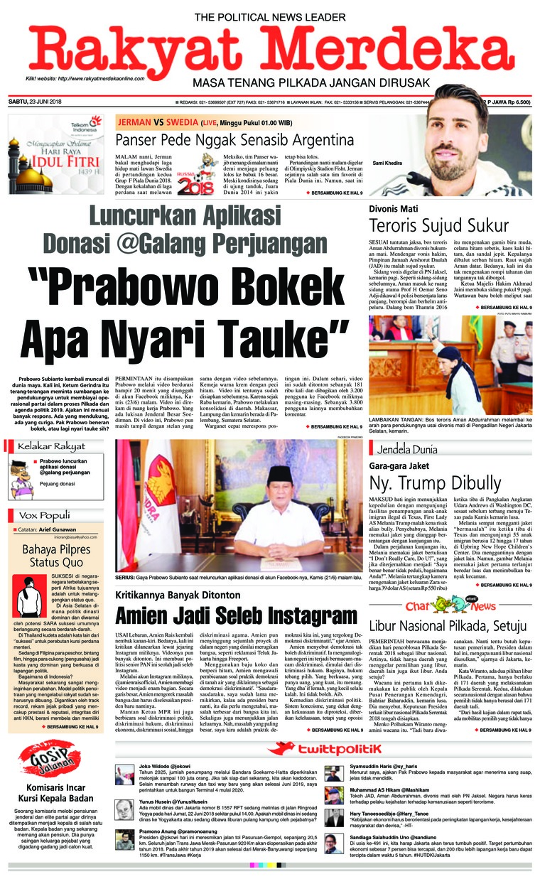 Koran Digital Rakyat Merdeka 23 Juni 2018