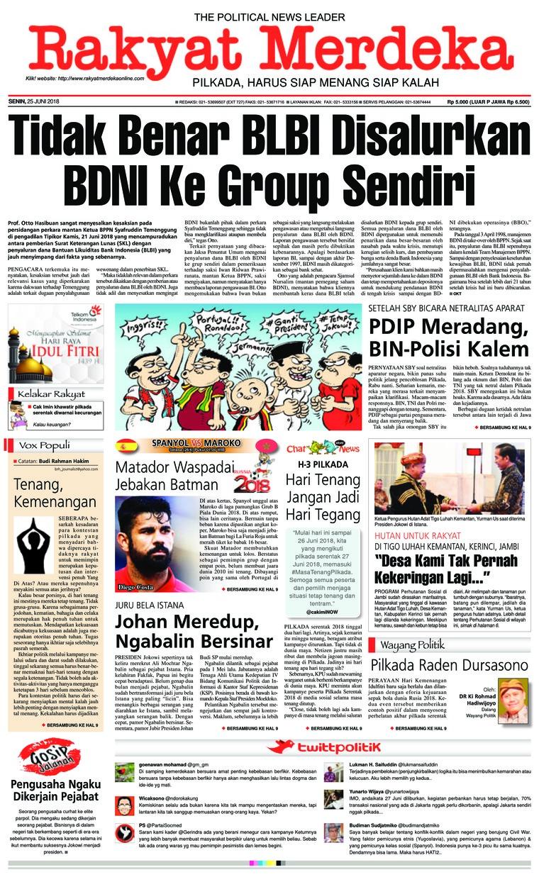 Koran Digital Rakyat Merdeka 25 Juni 2018