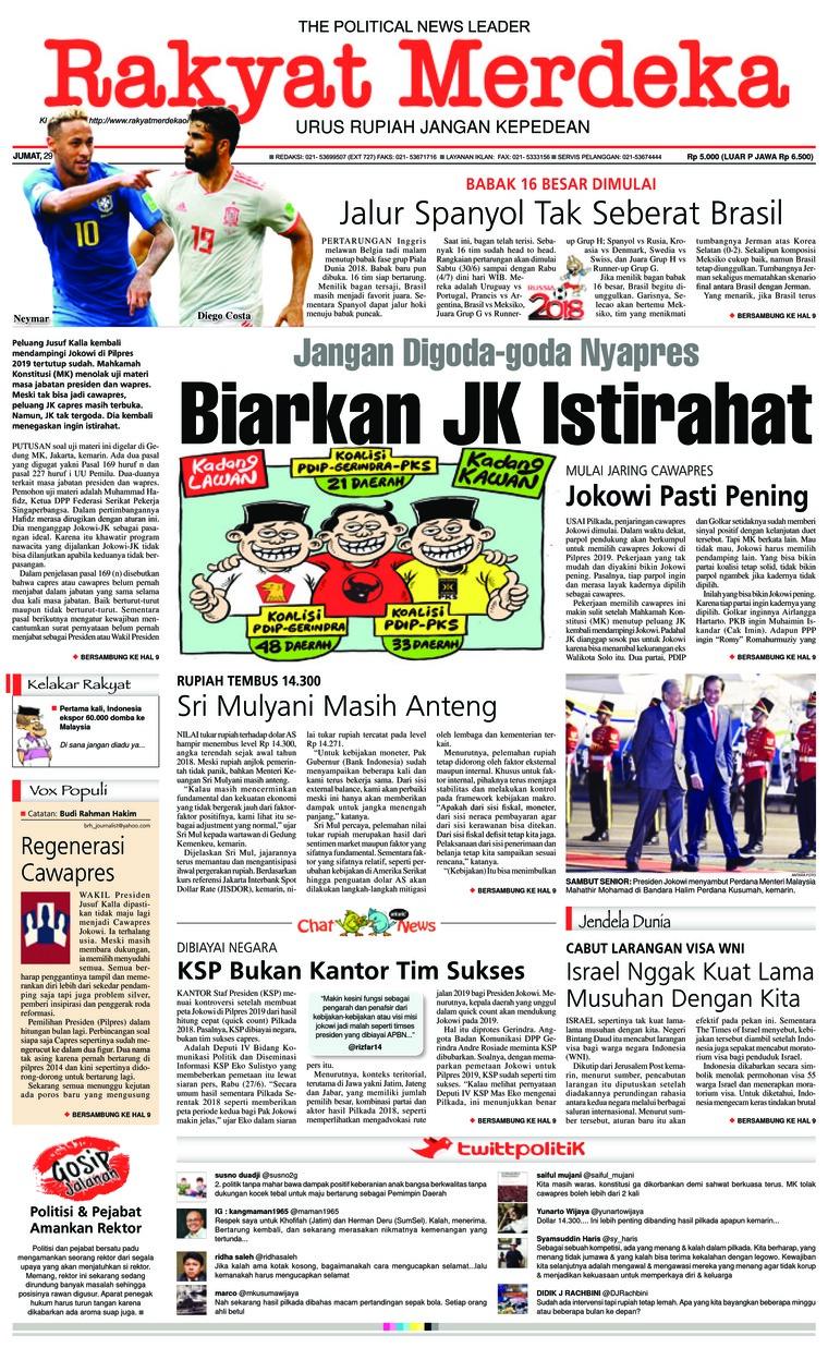 Koran Digital Rakyat Merdeka 29 Juni 2018