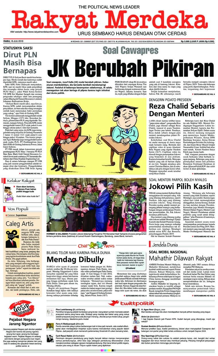 Koran Digital Rakyat Merdeka 18 Juli 2018