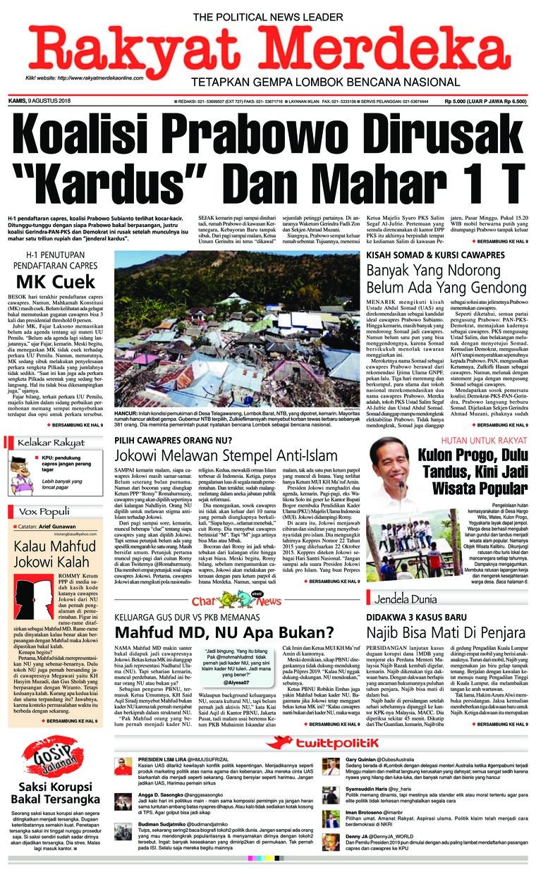 Koran Digital Rakyat Merdeka 09 Agustus 2018