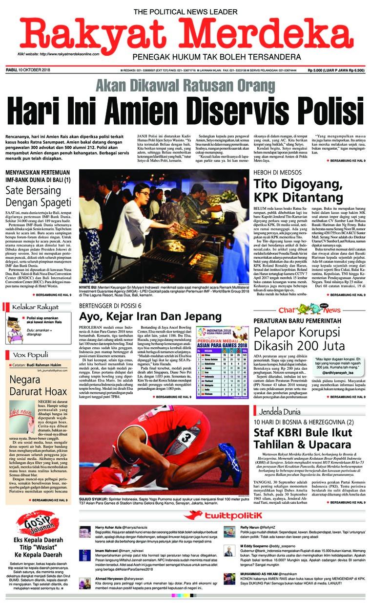 Koran Digital Rakyat Merdeka 10 Oktober 2018