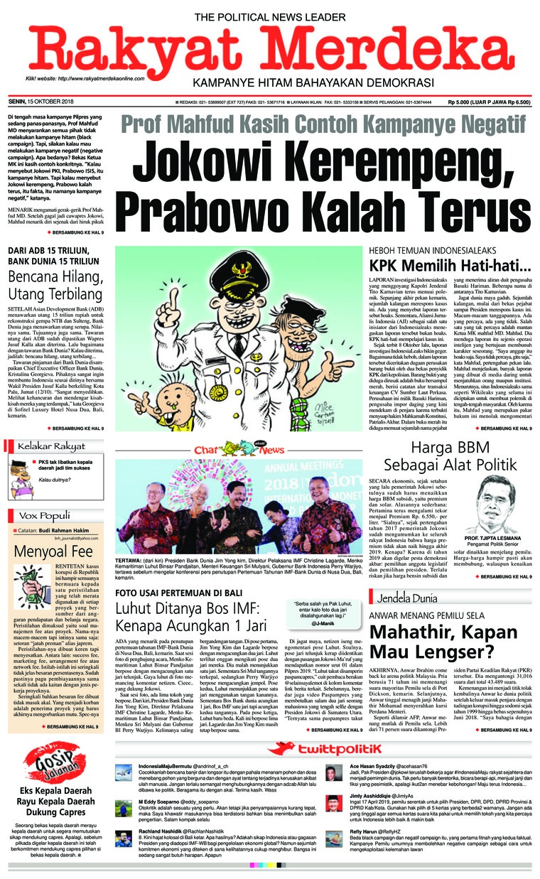 Koran Digital Rakyat Merdeka 15 Oktober 2018
