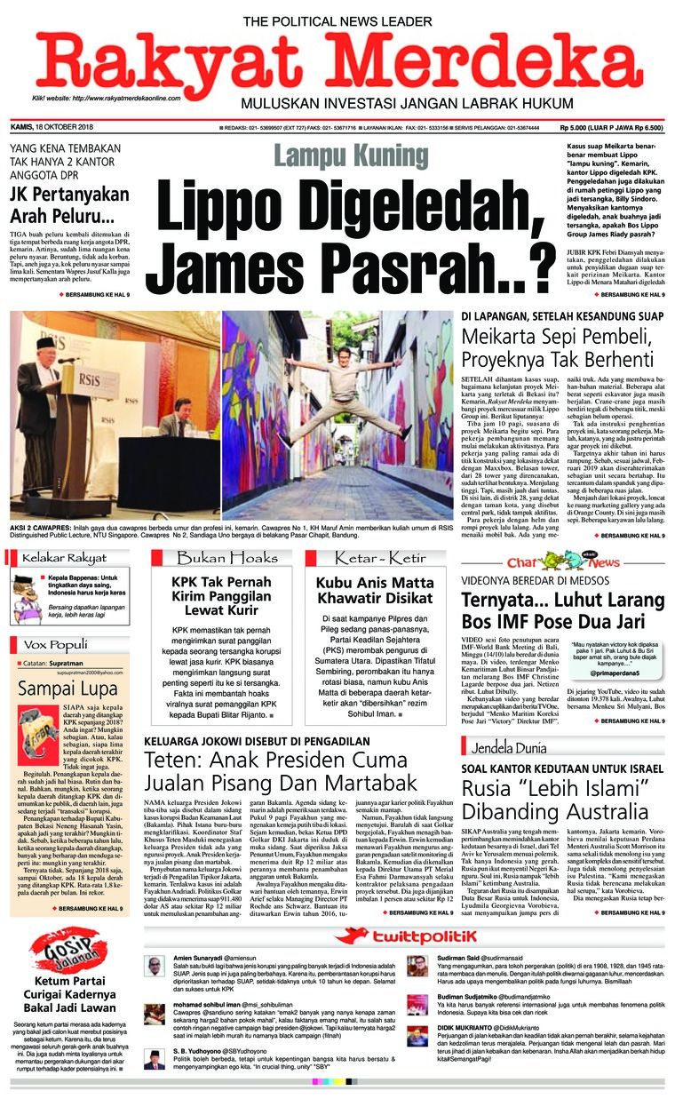 Koran Digital Rakyat Merdeka 18 Oktober 2018