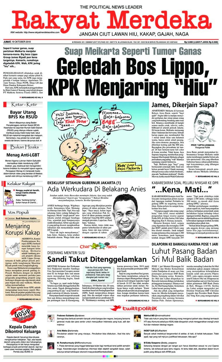 Koran Digital Rakyat Merdeka 19 Oktober 2018