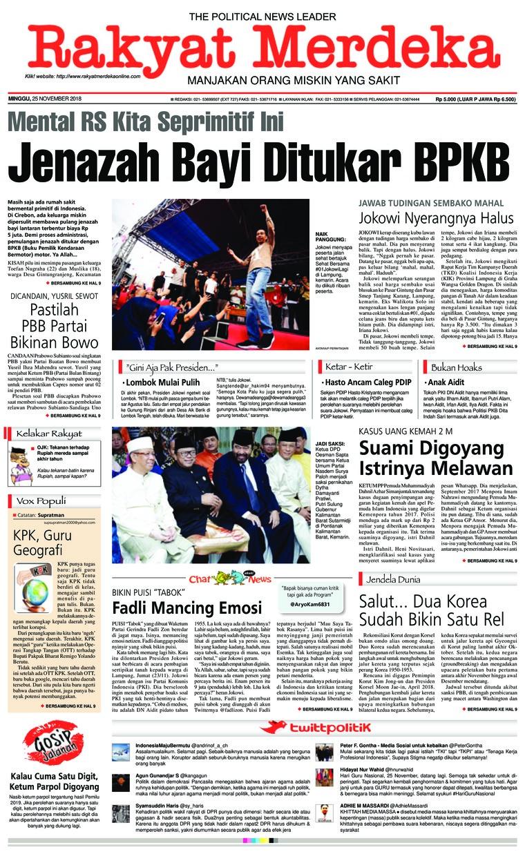 Koran Digital Rakyat Merdeka 25 November 2018