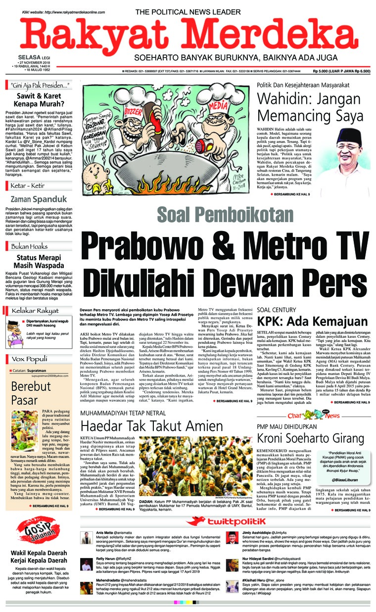 Koran Digital Rakyat Merdeka 27 November 2018