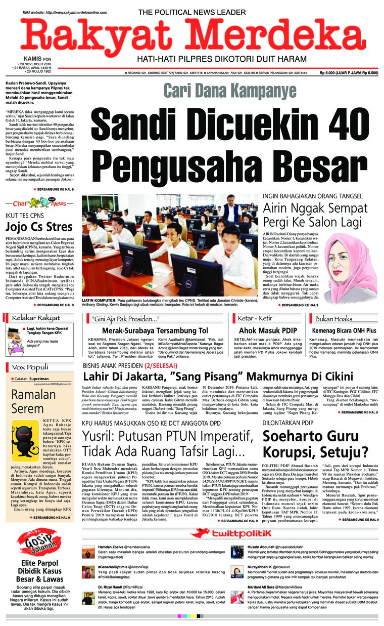 Koran Digital Rakyat Merdeka 29 November 2018